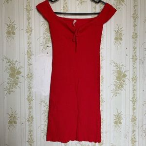 Urban Outfitters Red Ribbed Mini Dress